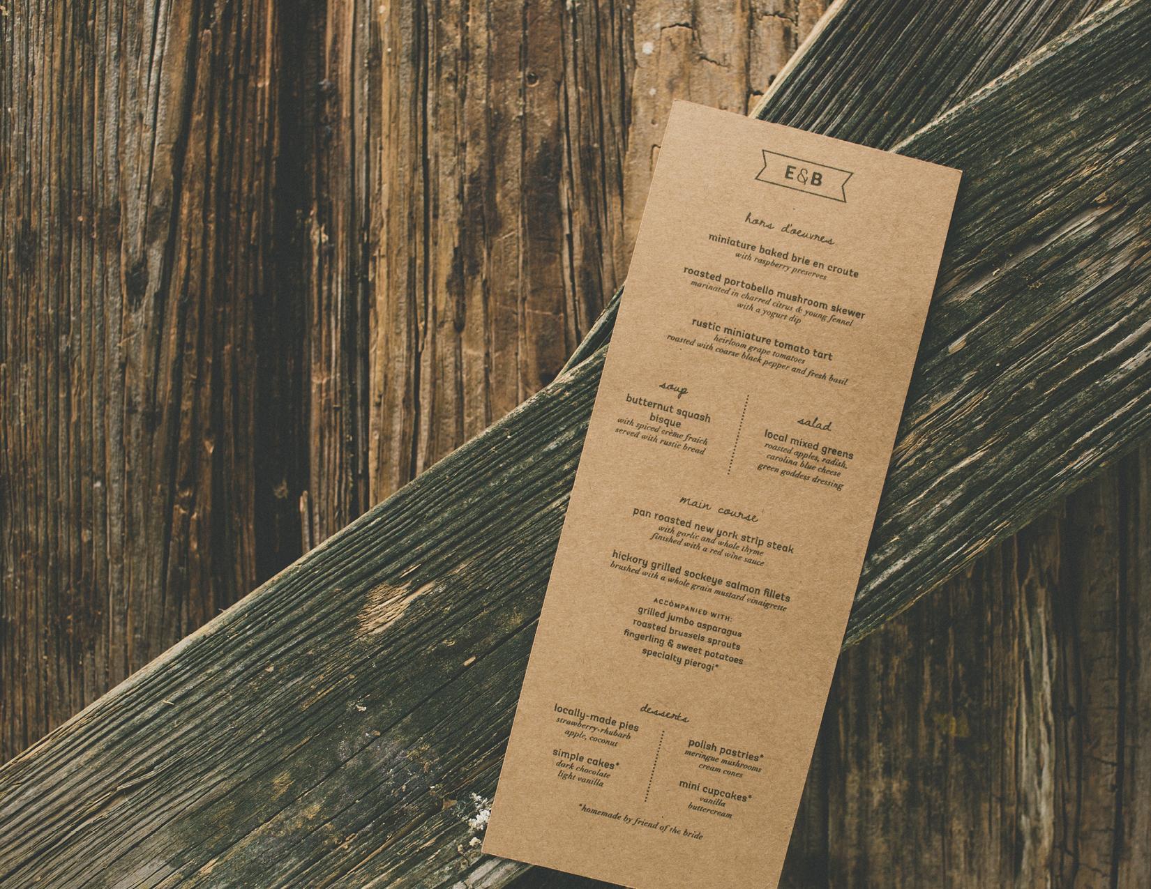 Friday Dinner Menu - Erica & Bryan 10.11+12.13