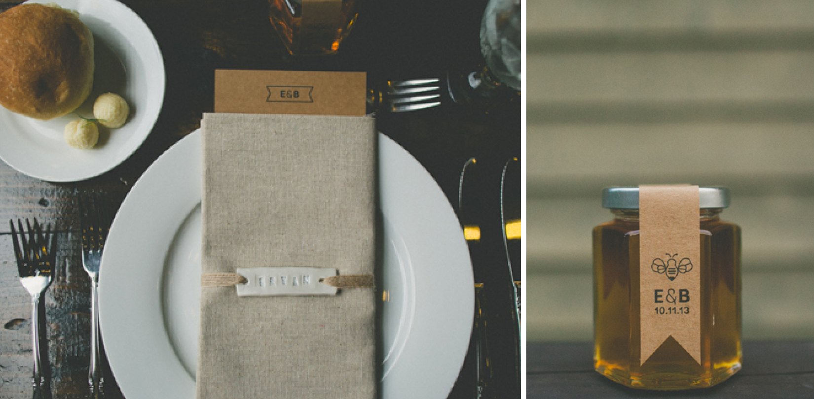 Friday Dinner Menu, Place Setting and Custom Honey Label - Erica & Bryan 10.11+12.13