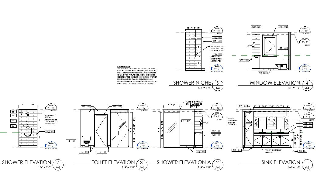 Example of Interior Elevation drawings in Autodesk Revit