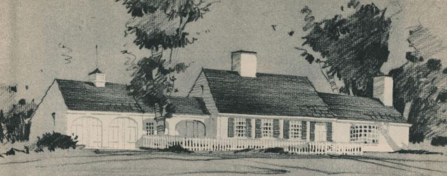 """Notice the front facade of the home is the typical Cape; however, Wills expanded his """"functional"""" home, with a modern-day garage, from the sides, ensuring that the original """"form""""of the Cape still remained."""
