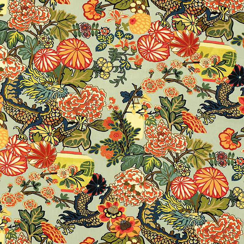 Chiang Mai Dragon  fabric and wallpaper by  Schumacher