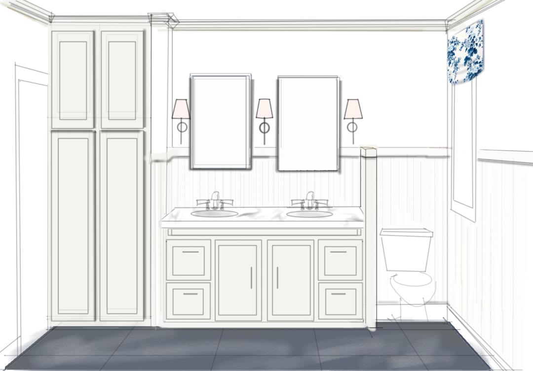 Example of a very sketchy rendering from an Interior Designer (by Bee's Knees Interior Design).