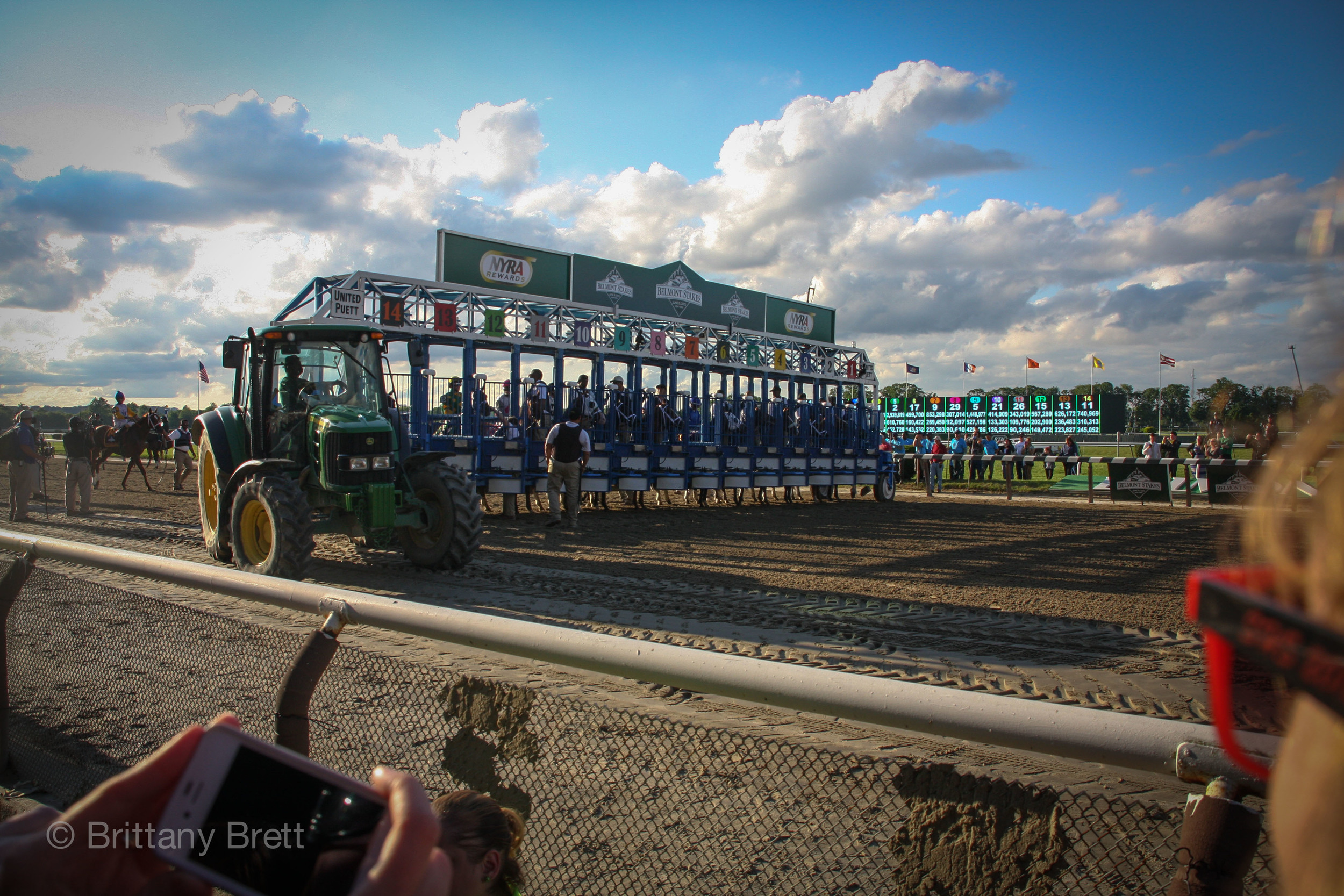 "I always love the energy from the crowd as they sing ""New York, New York"" while the starting gate is put into place."