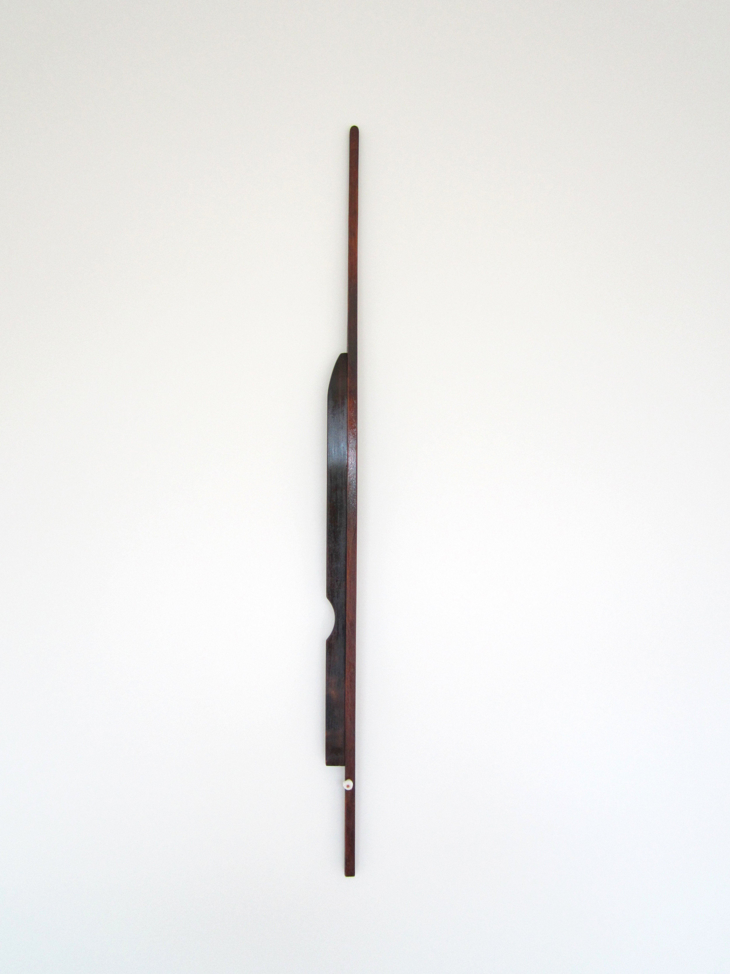 Shellac and dye on Walnut, Pine and hand moldable plastic, 44 x 1.75 x 2.5 inches