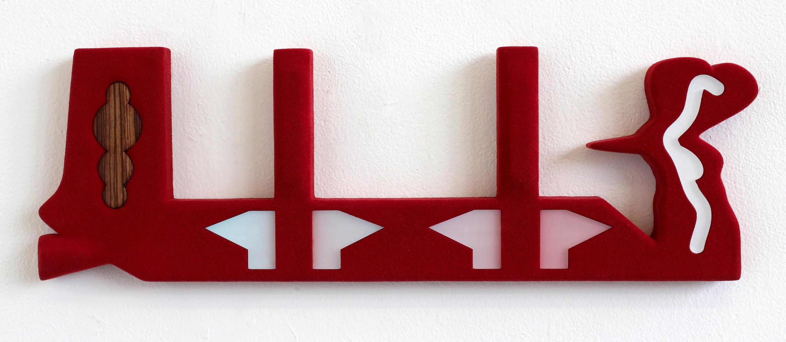 acrylic paint, flocking, zebra wood, cast acrylic and MDF 22 X 7 x 1.25 Inches