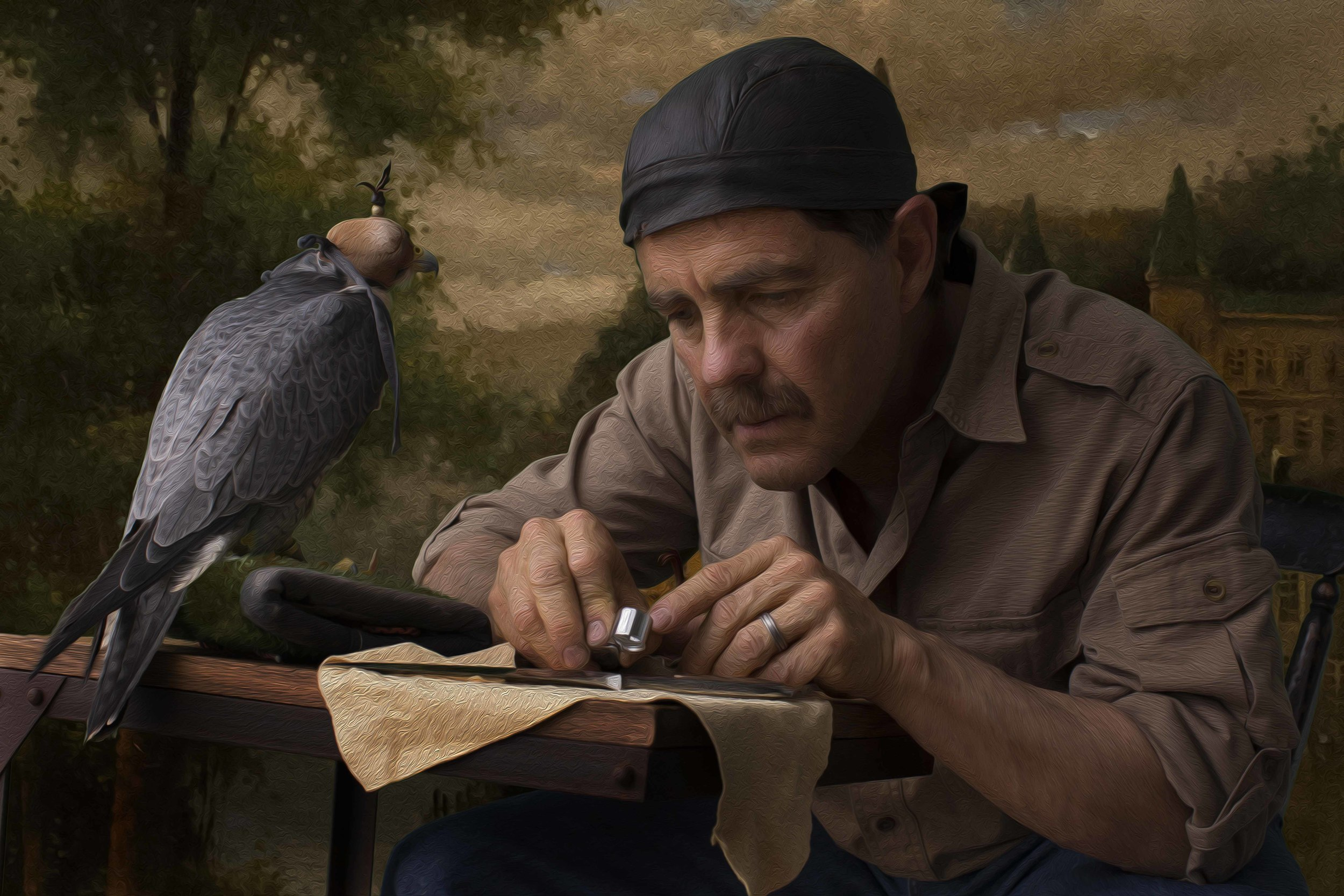 This photo is of my dear friend Ricardo and Frightful, a Peregrin Falcon. I am a Falconer and have a passion for capturing the beauty of this Lord of the Sky.