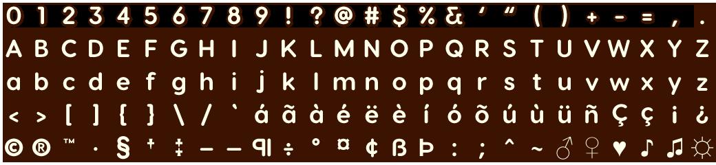Custom font sprite sheet made in Adobe Photoshop