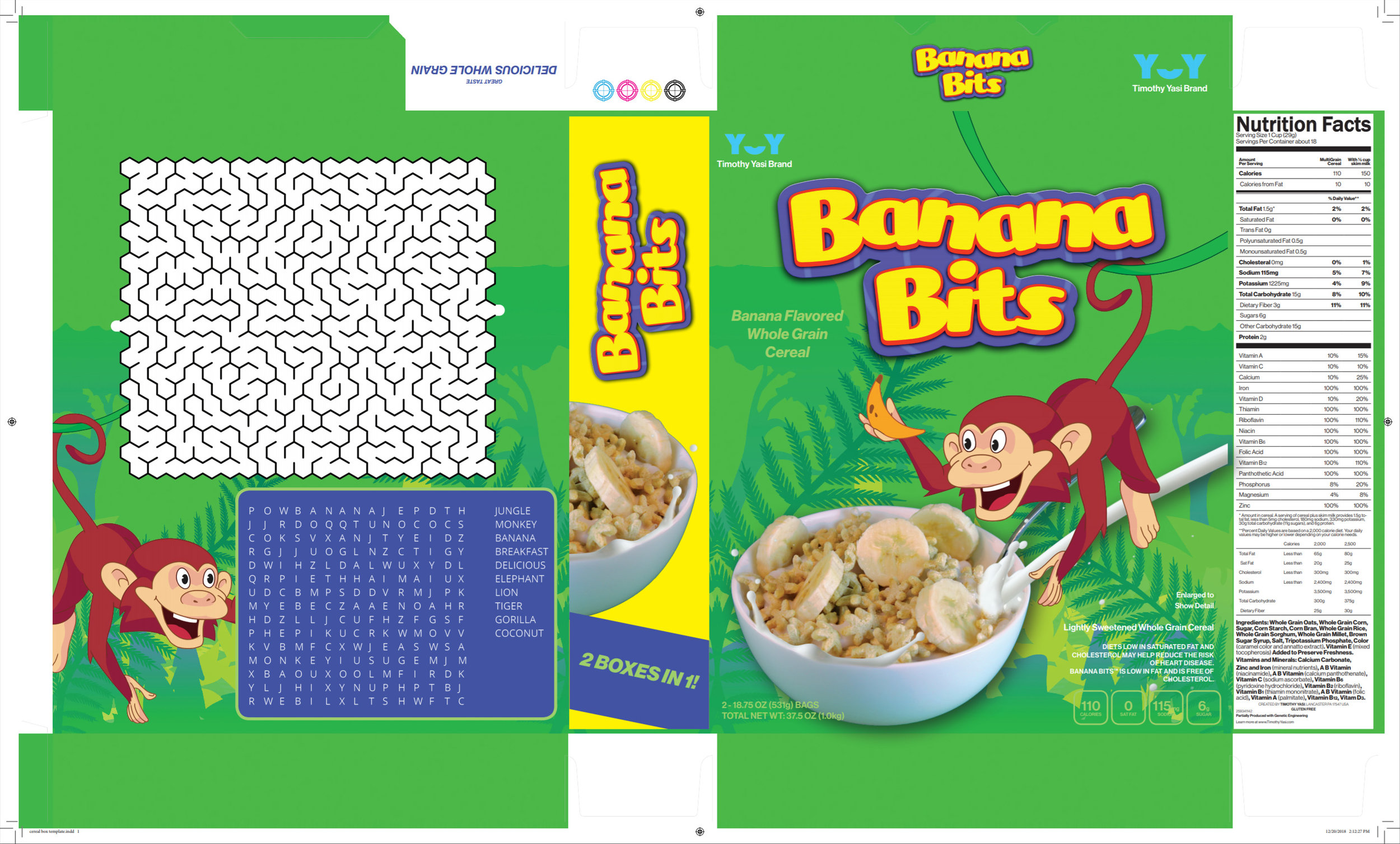 Cereal box design made with Adobe Photoshop and InDesign. I also photographed and edited the cereal bowl image used in this design.