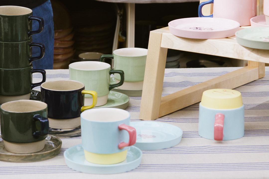 Bjorg Hardardottir  ceramic cups and saucers