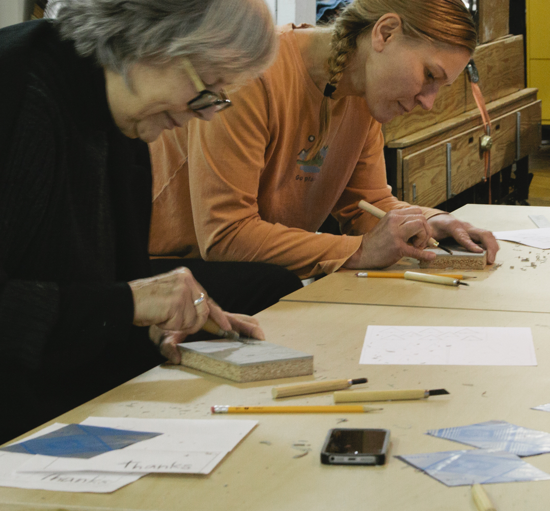 Holiday Blockprinting Workshop with Print Club ltd. at the Cracker Factory