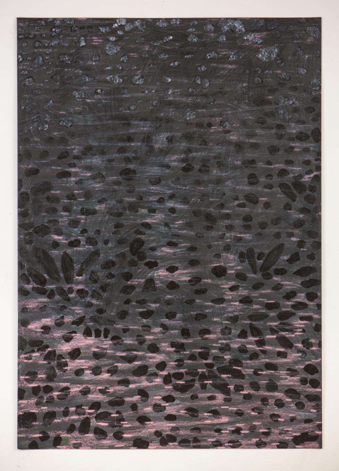 "Islands III., 2016. Silkscreen monoprint, wax crayon, varnish, graphite, acrylic. 30x40"""