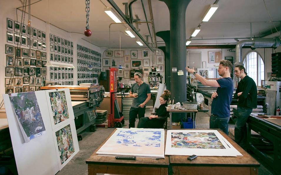 Edition Copenhagen's master printers working in the studio.