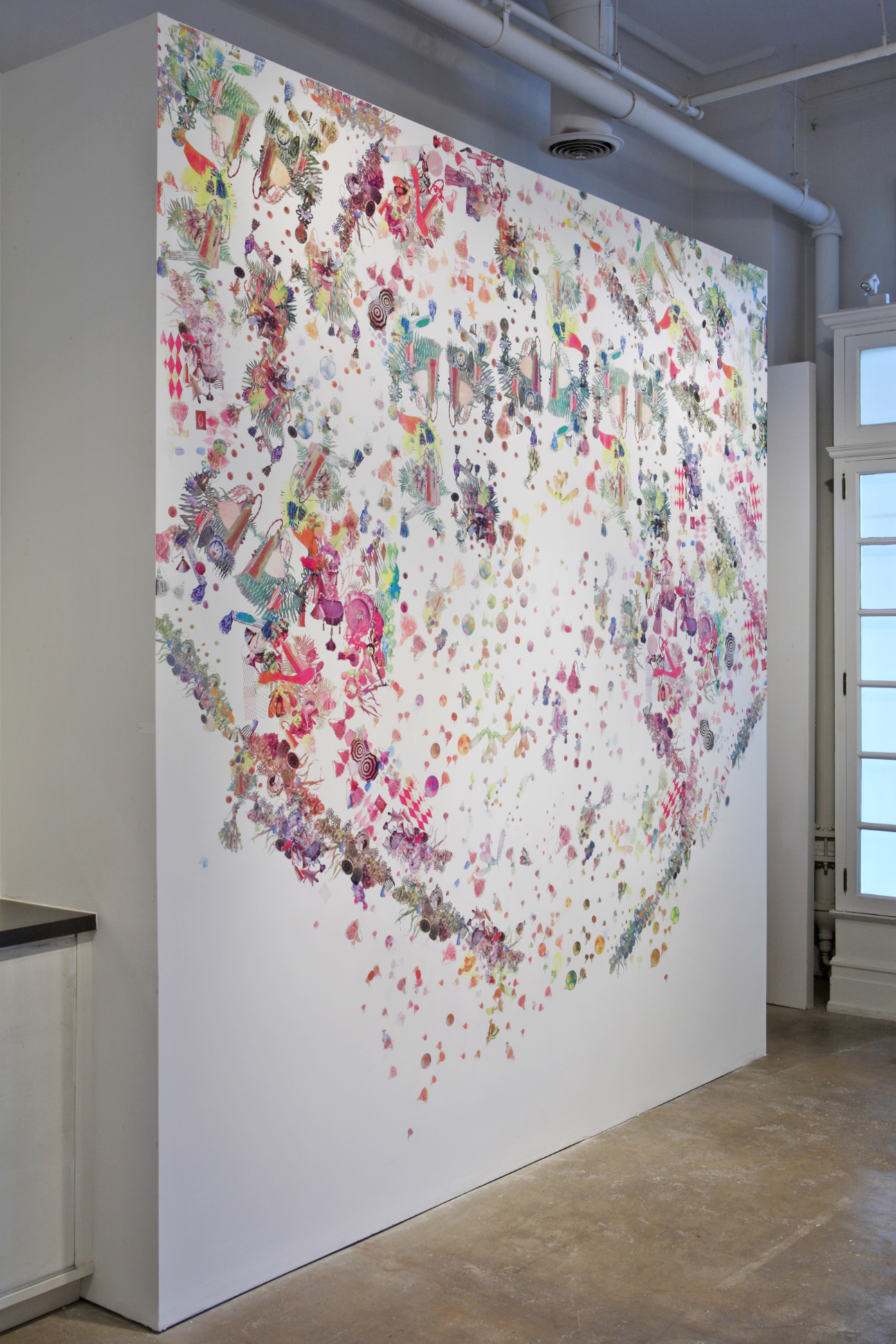 Embedded Threads. Installation at Gallery Joe, Philadelphia, PA. Screenprint on wall