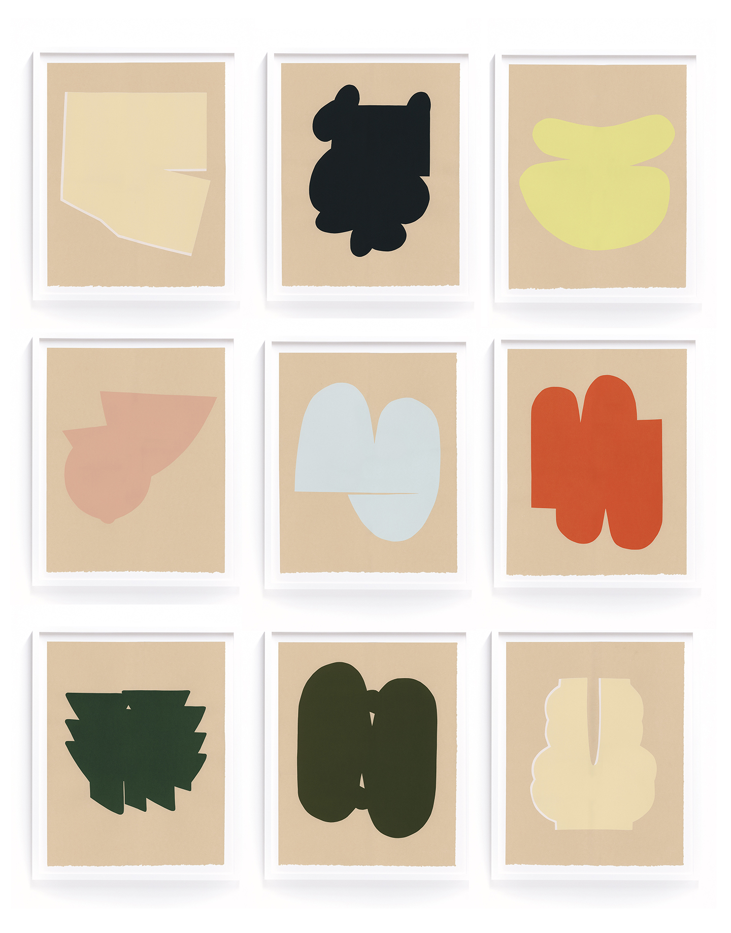 """Alyson Fox """"Shapes"""" Limited edition silkscreen prints, 2017. 9 prints, edition of 12"""