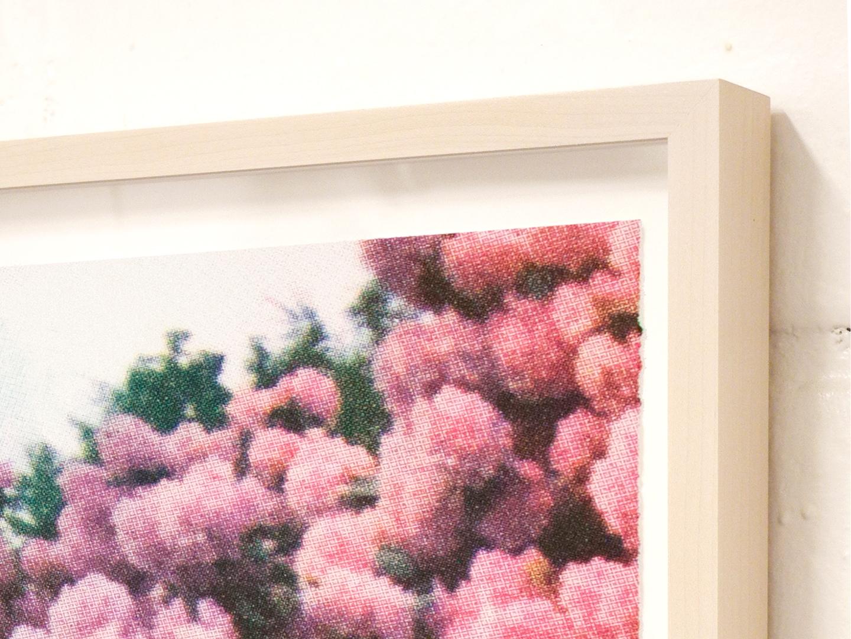 "Print Club Ltd. ""Pink/Orange Florals"" limited edition silkscreen print, 2013. Edition of 30. Custom framed (detail)"