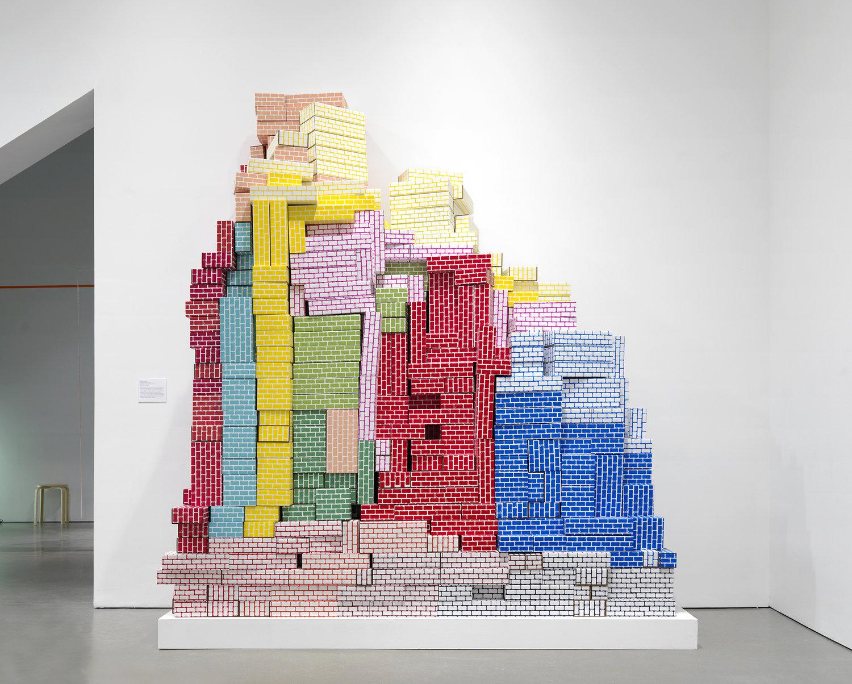 Jennifer Schmidt.  Cardboard Blocks 2  - 2015 .  Self-manufactured blocks: screenprinted and die cut cardboard, performance. Installation view at ICA Boston.
