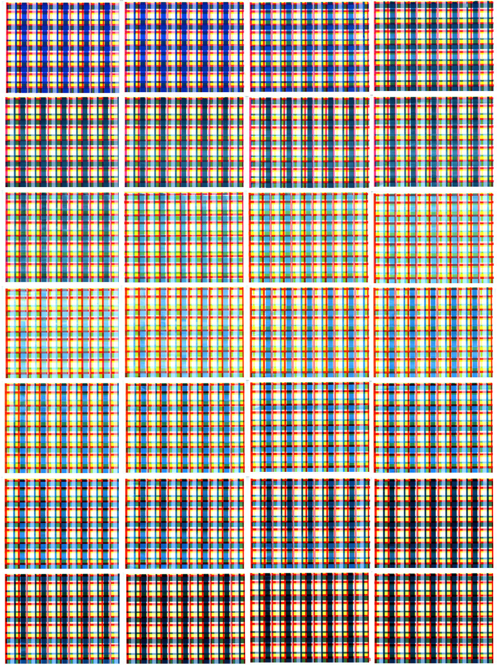 """Jennifer Schmidt,  Feeling Plaid (Screen Saver)  - 2012.   Screenprinted unique edition of 28 sequential plaid patterns. 11.5"""" x 15"""" each, to be displayed as a 53"""" x 83"""" grid. Video Animation: 3:20 minutes in duration, looped, shown on a monitor or projected."""