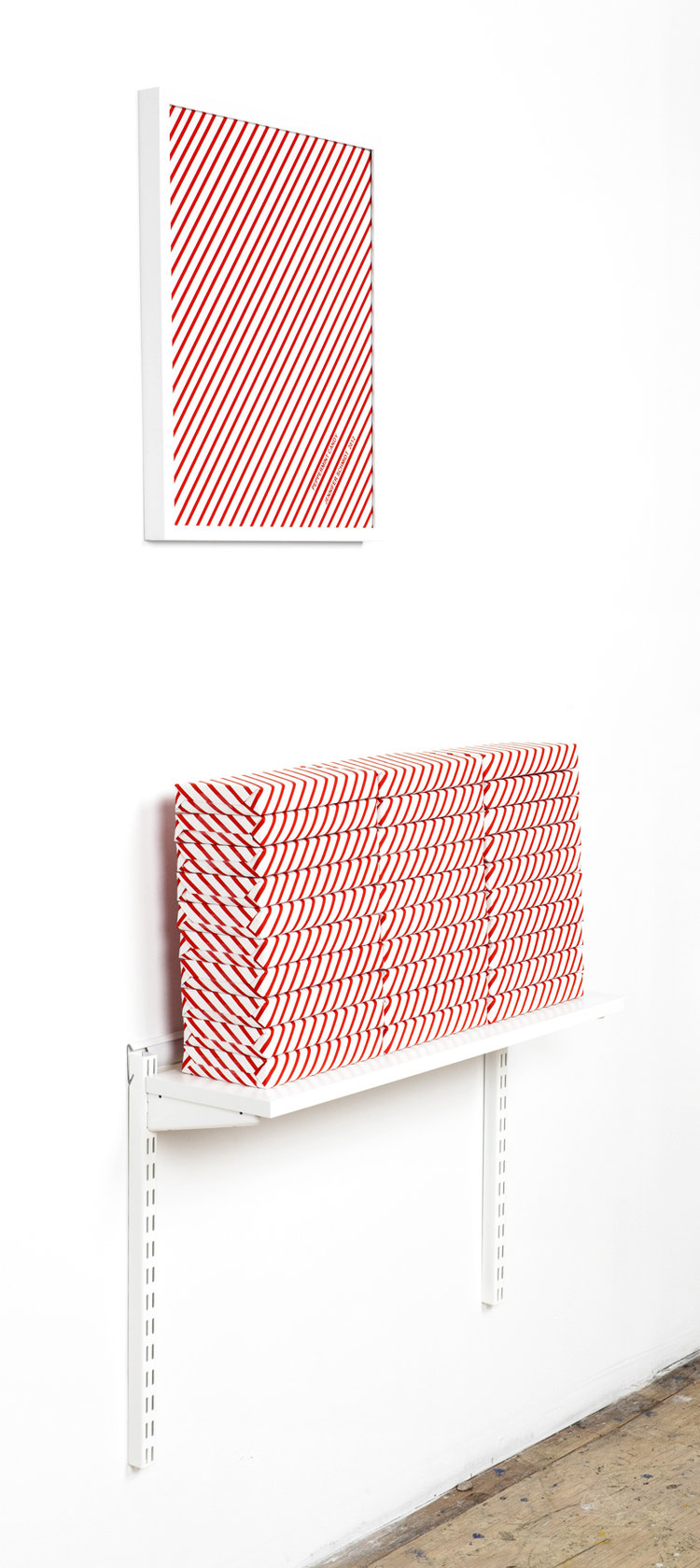 """Jennifer Schmidt,  Peppermint Candy  - 2013. Screenprint Poster and Wrapping Paper, 17"""" x 22"""", Boxes with Peppermint Candy, Display Variable."""