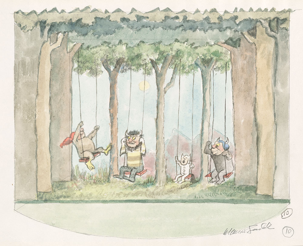 Maurice Sendak (1928-2012),  Study for stage set #10 (Where the Wild Things Are) , 1979-1983, watercolor, pen and ink, and graphite pencil on paper. © The Maurice Sendak Foundation. The Morgan Library & Museum, Bequest of Maurice Sendak, 2013.