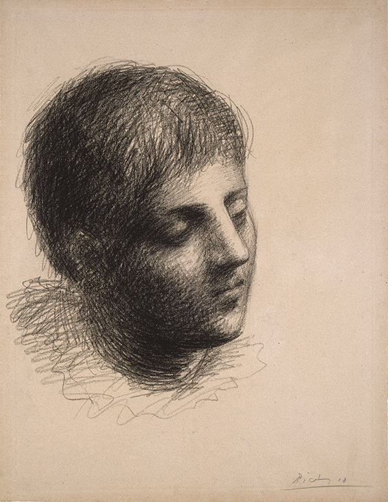 Pablo Picasso (Spanish, 1881–1973).  Head of a Young Man  ( Tête de jeune homme ), 1923. Grease crayon on pink Michallet laid paper, 241/2 x 185/8 in. (62.2 x 47.3 cm). Brooklyn Museum; Carll H. de Silver Fund, 39.18. © 2018 Estate of Pablo Picasso / Artists Rights Society (ARS), New York