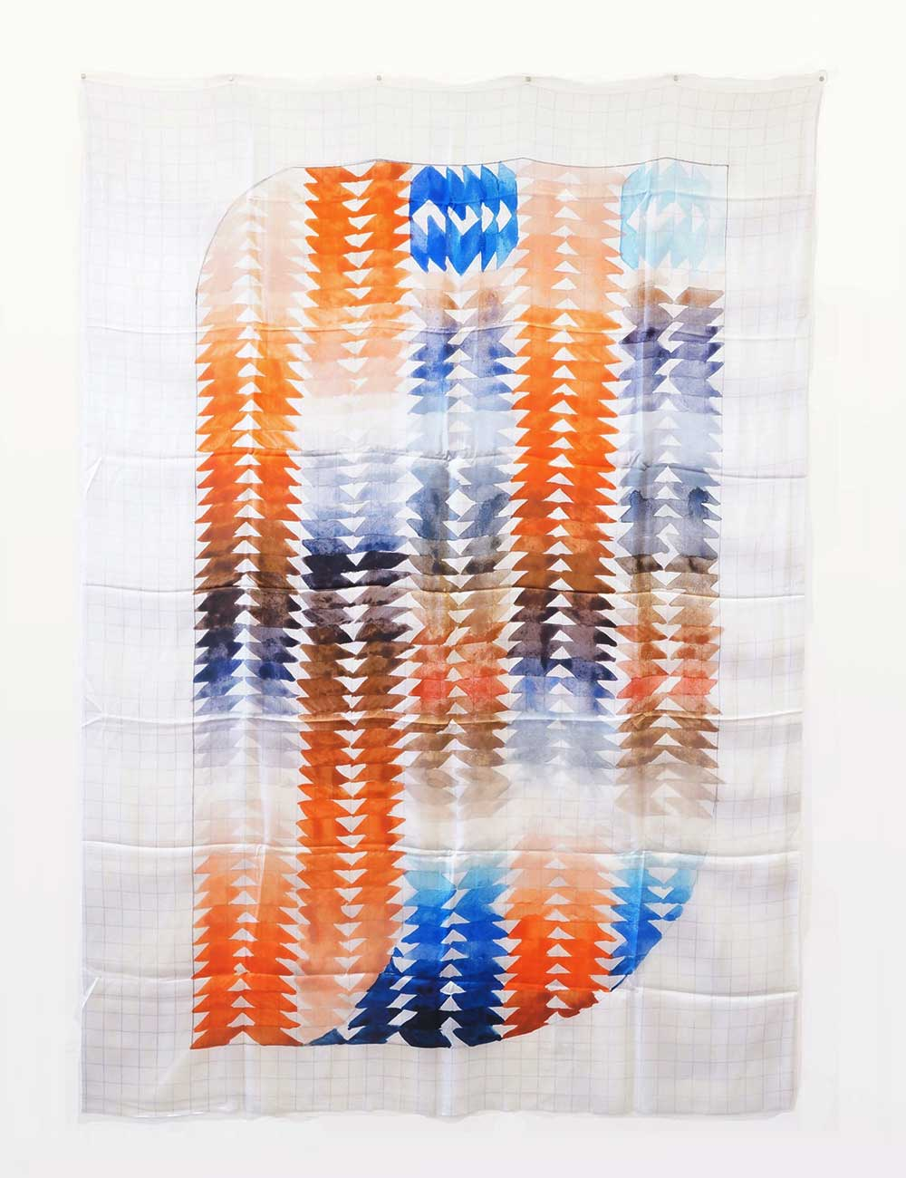A high resolution scan of the gridded notebook is then digitally printed onto silk at a large scale.