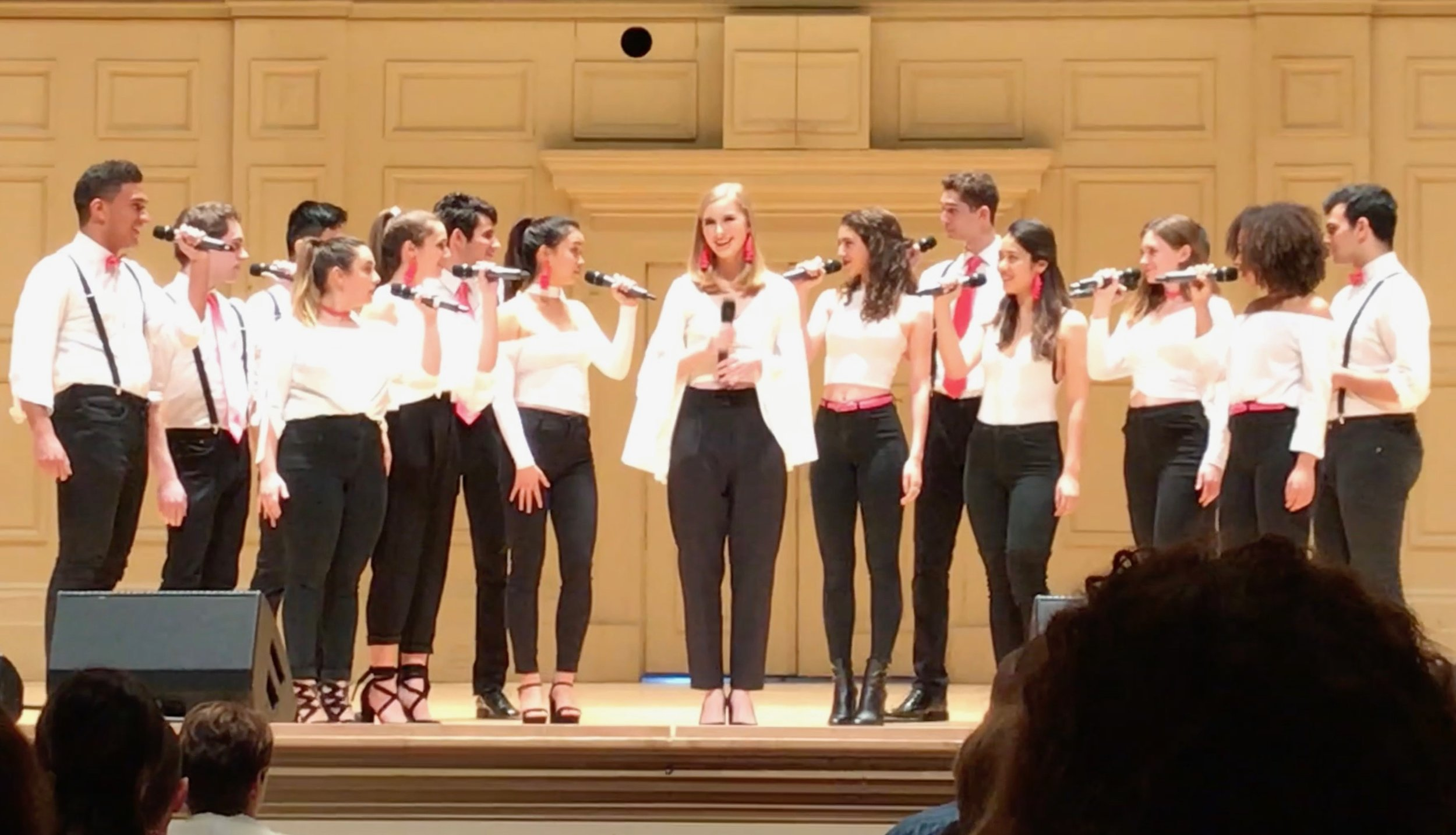 Opportunes performing at Boston Symphony Hall, ICCA Semifinals 2018