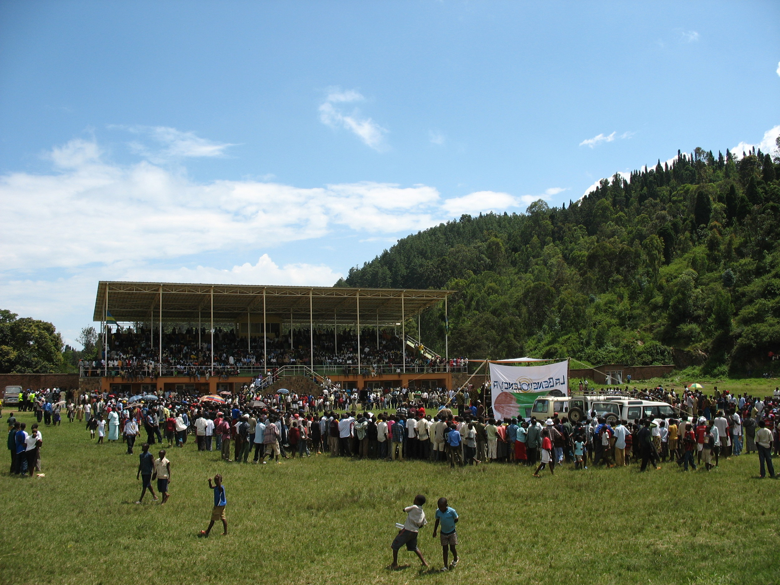 Live performance of reconciliation radio soap opera, Kibuye, Rwanda.  See Paluck, 2009, Paluck & Green, 2009.
