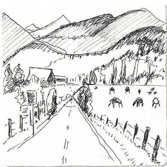 Landscape sketch of Oregon, Art by Suzanne LaPierre