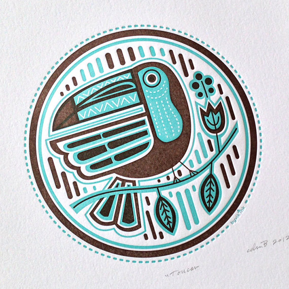 Letterpress Toucan from byVik Ink