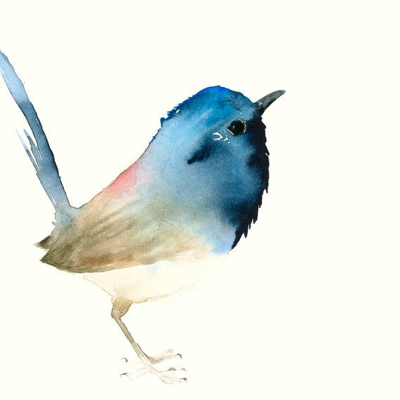 Dark Blue Tiny Bird by Dear Pumpernickel