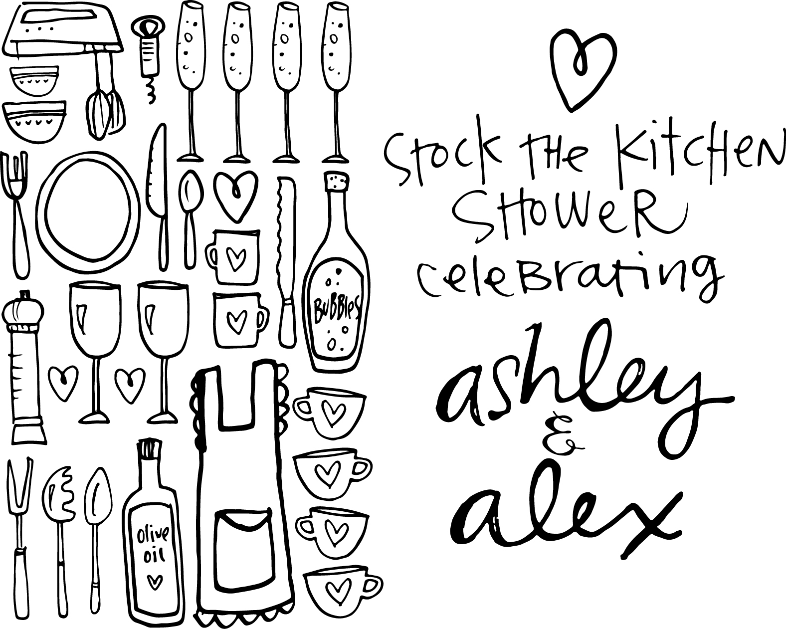 A sweet shower invitation for the couple that loves to cook.
