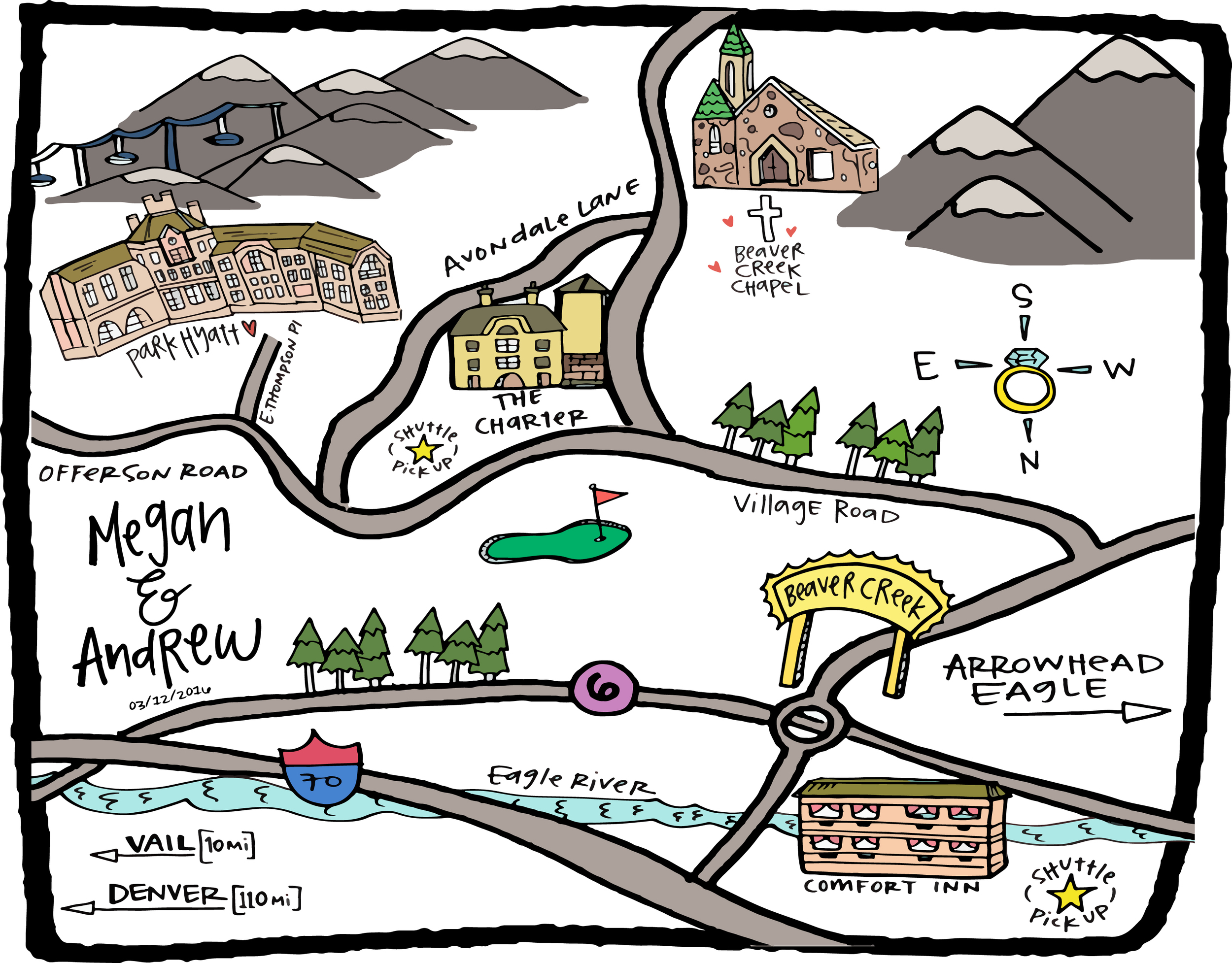A map for Megan & Andrew's wedding guests.