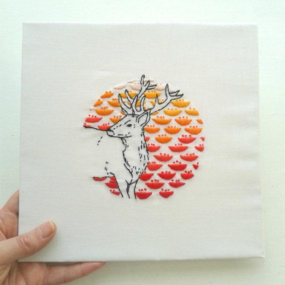 Stag + Flowers, Jenny Blair Art
