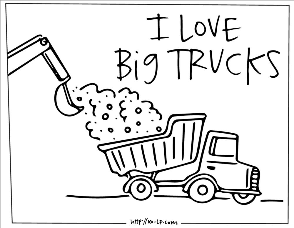 Printable Big Truck Coloring Book Xo Lp