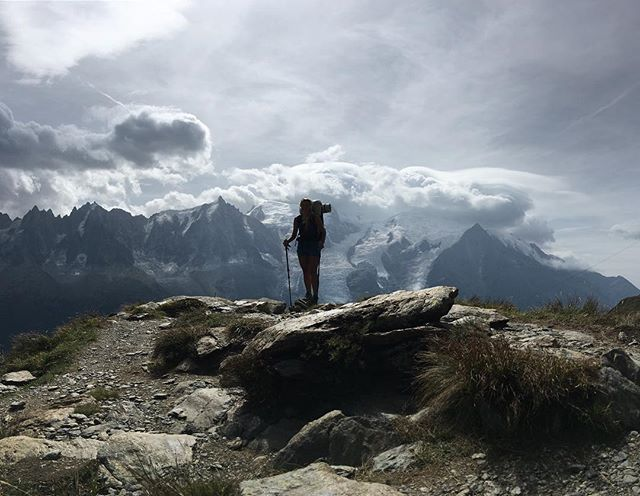 Mont Blanc in one word: formidable @aubrey.garner on our last day headed into les Houches, a view from the Tour du Mont Blanc trail  #montblanc #mountains #backpacking #ultralight #Utmb