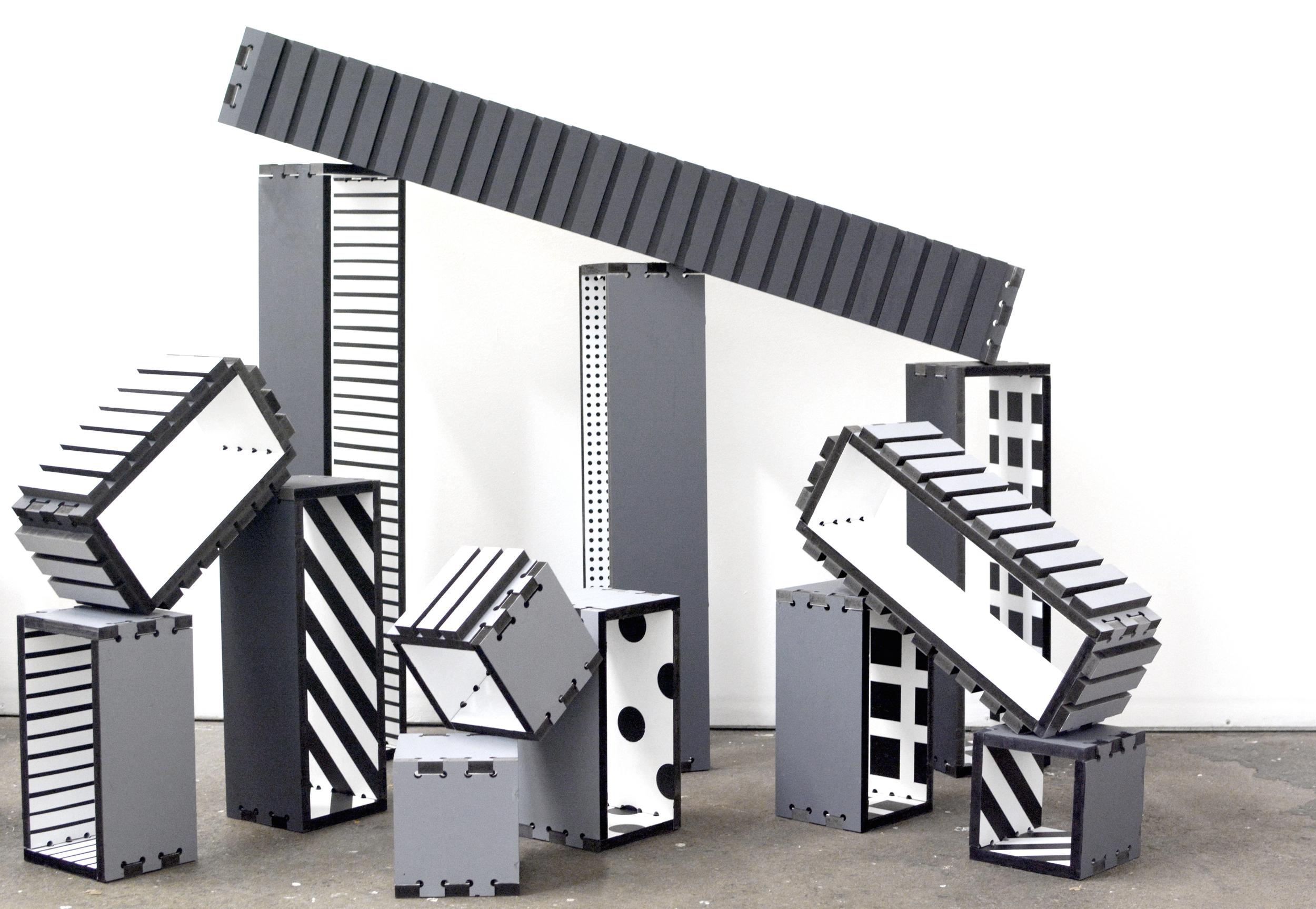 Blocks (still from installation), 2014, acrylic on MDF, dimensions variable.