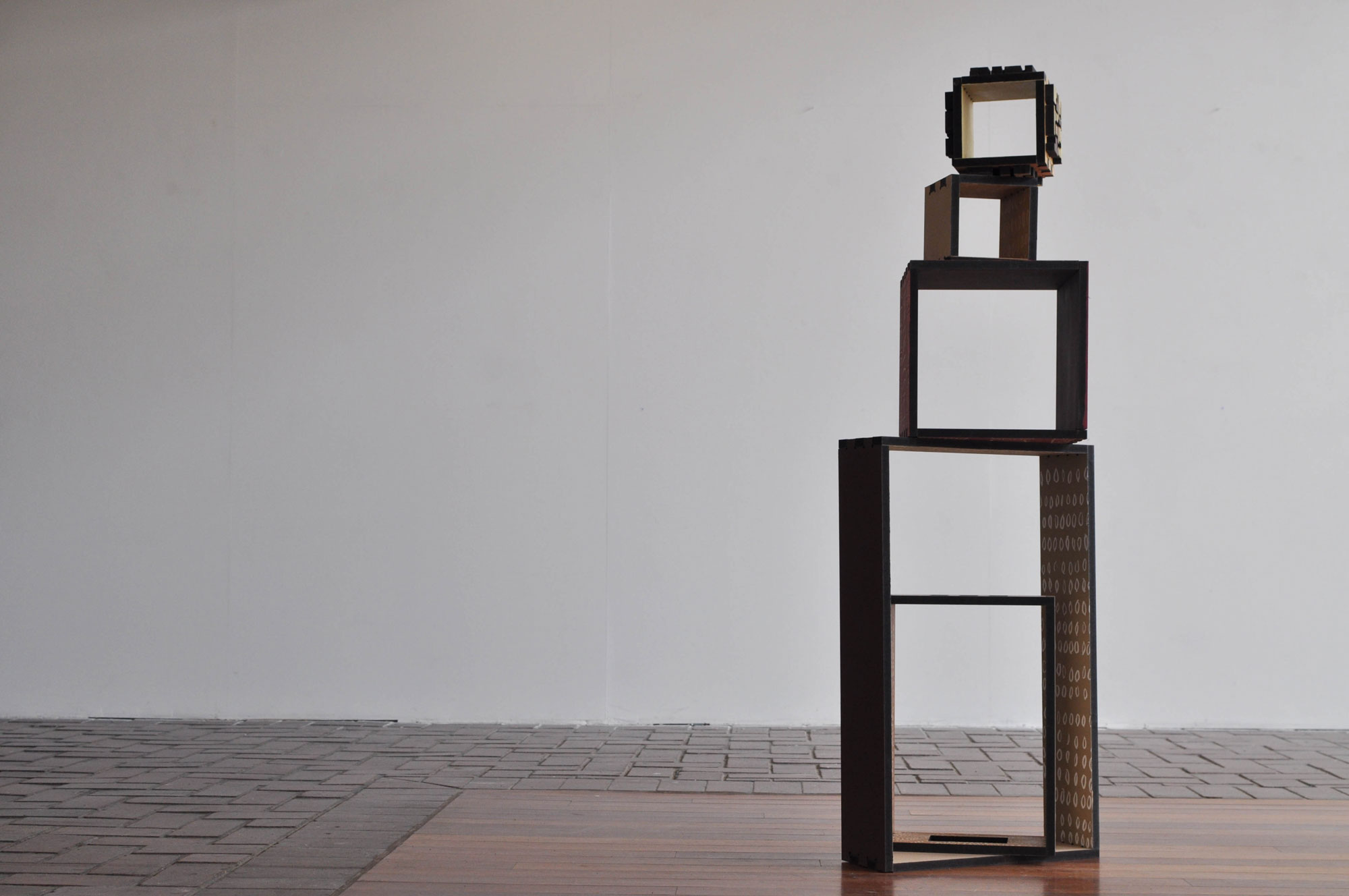 Block stack studies  (still of variation), 2013, Permaset on MDF, dimensions variable