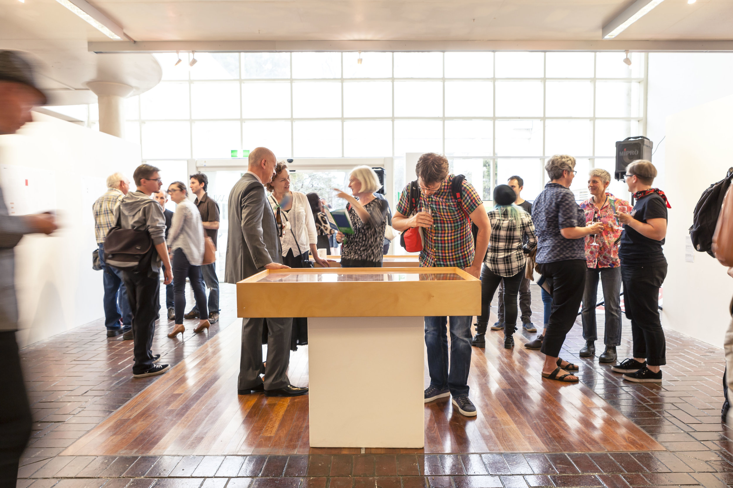 Exhibition opening of Cold Like Concrete, curated by Oscar Capezio, at the ANU Foyer Gallery. Image: Dream Pieces.