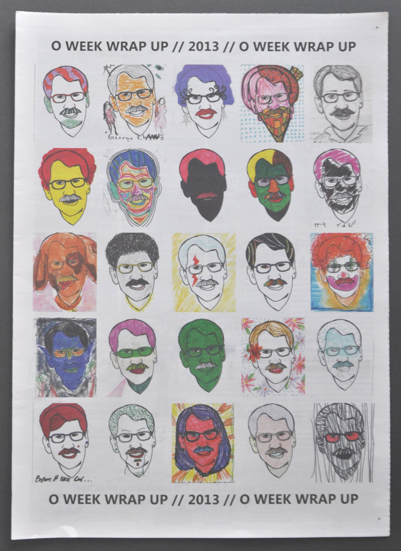 Colour-ian, designed a colouring in competition based on the face of ANU Vice-Chancellor Ian Young. Selected entries published in March  Woroni 2013.