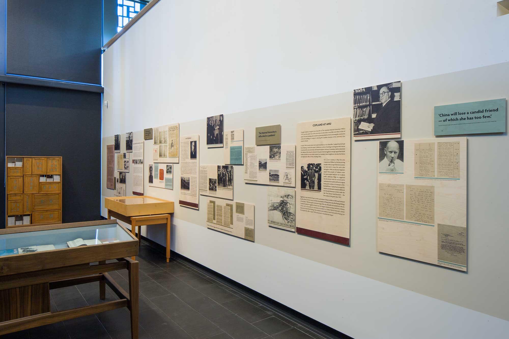 Exhibition panels for  China & ANU — Diplomats, Adventurers, Scholar s, 2015. Photos: Stuart Hays