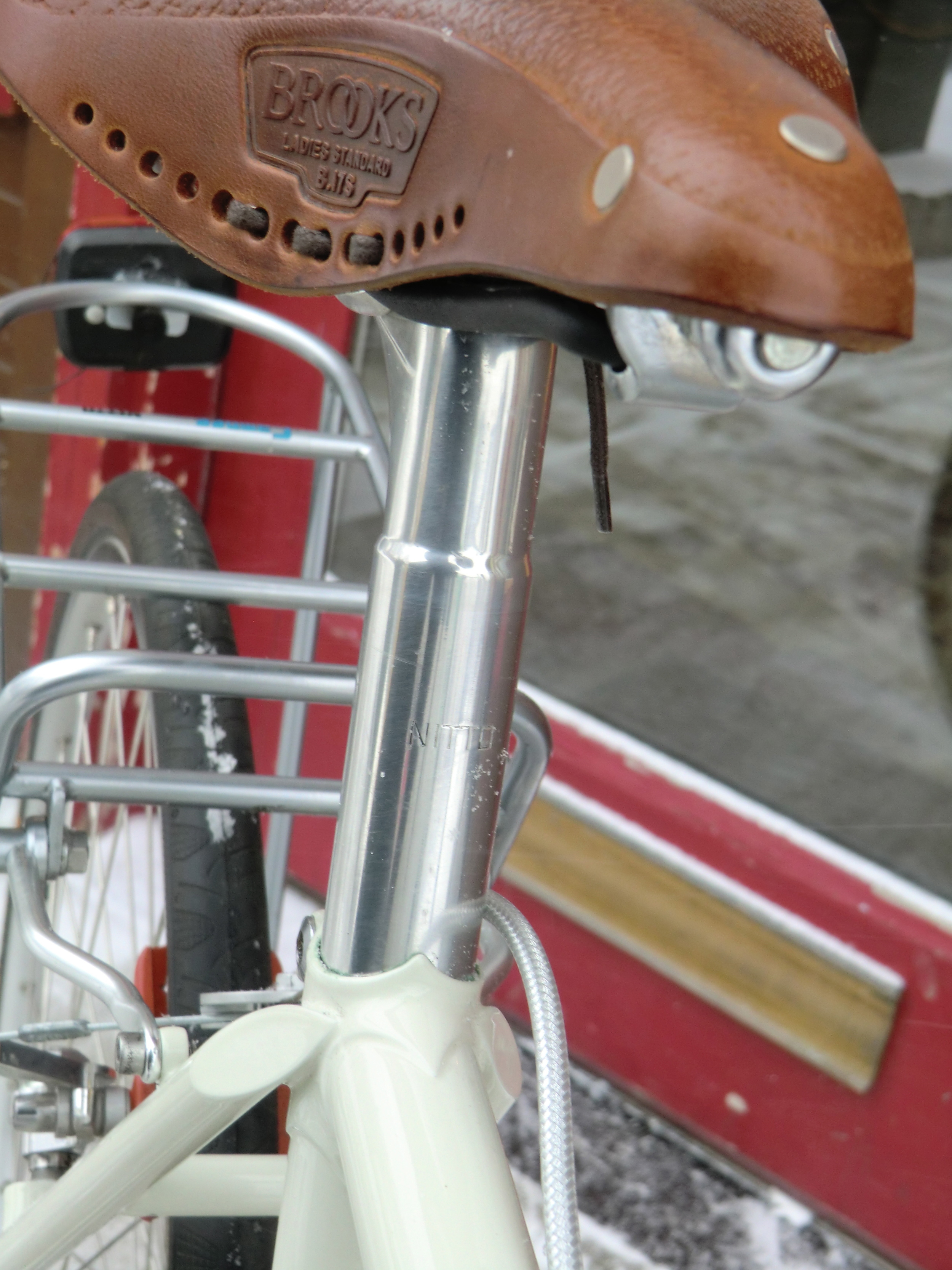 NITTO seatpost, one owner went with a Brook's English Leather saddle (Flyer, Aged Leather)