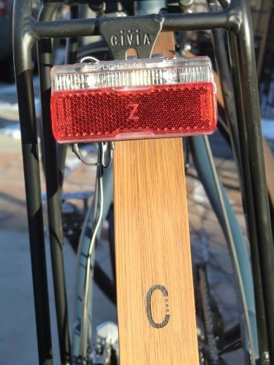 B&M  rear light mounted to rear rack