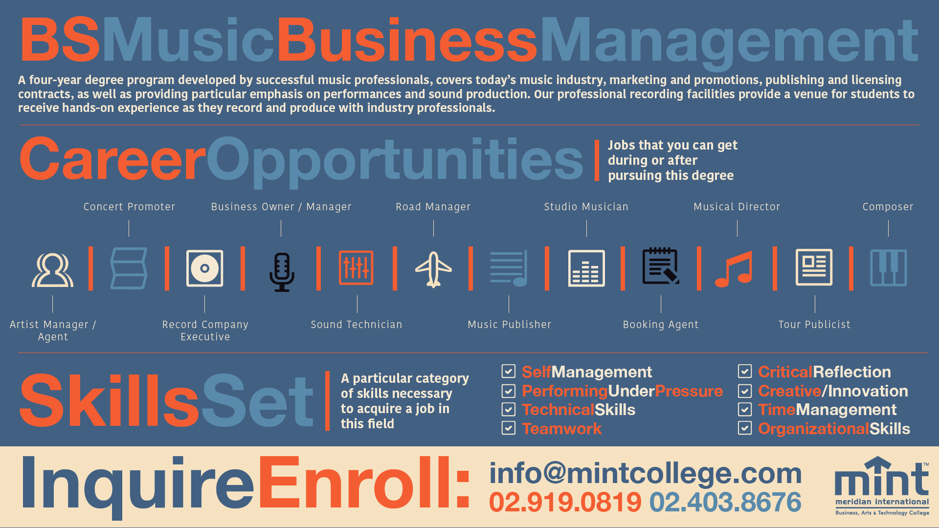 MINT College — CAREER PATHS: MUSIC BUSINESS MANAGEMENT