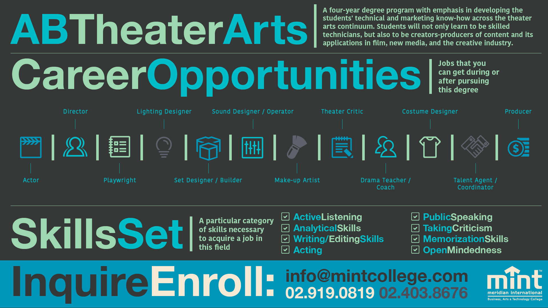 Thinking of a career in theater? Check out this infographic for career opportunities. For more information on MINT's program offerings, go to www.mintcollege.com, Programs section.
