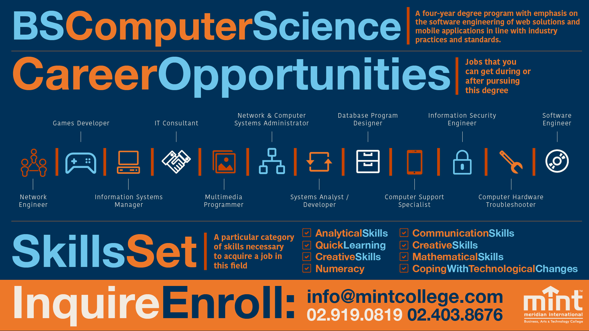 Thinking of a career in information technology? Check out this infographic for career opportunities. For more information on MINT's program offerings, go to   www.mintcollege.com  , Programs section.