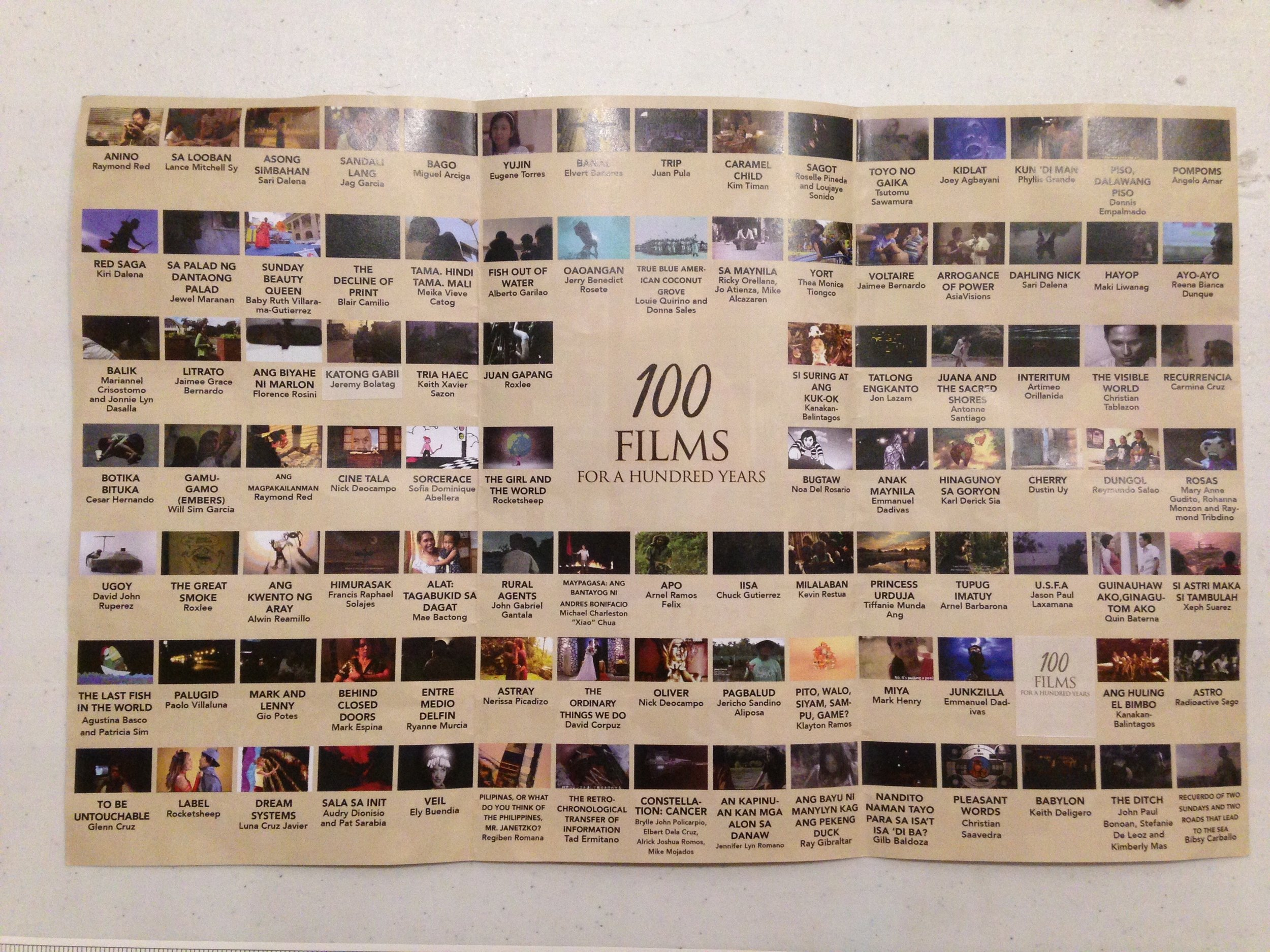 "These are the films chosen for the first cycle for ""100 Films for a Hundred Years"" screening. Noah Del Rosario's ""Bugtaw"" (4th row, 10th column) is included here."