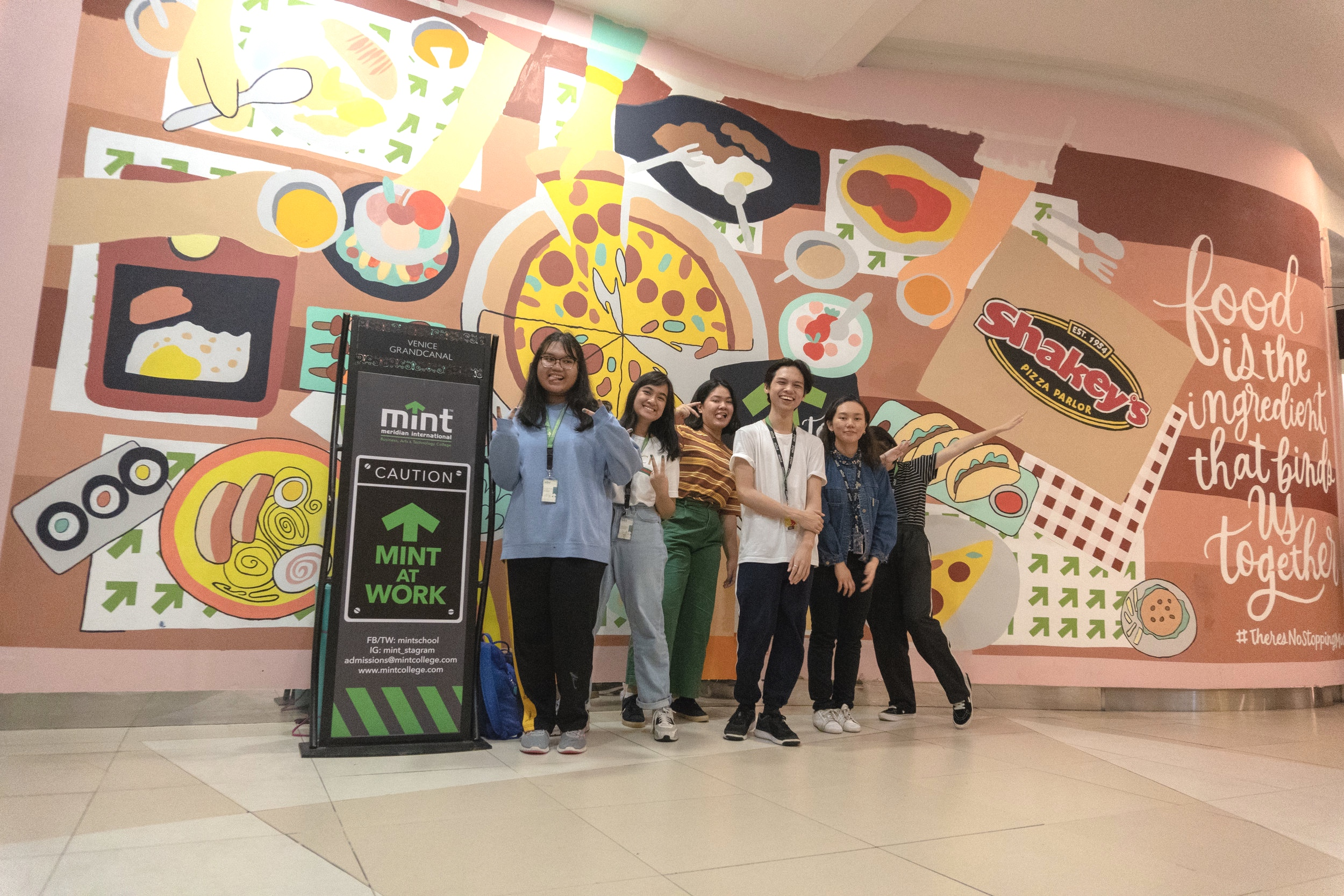 MINT MMA students finished painting a second mural at the Venice Grand Canal Mall Foodcourt. Their first mural project was beside Coffee Bean Tea and Leaf. They were tapped by Shakey's Pizza, through the partnership of MINT College and Megaworld Lifestyle Malls.