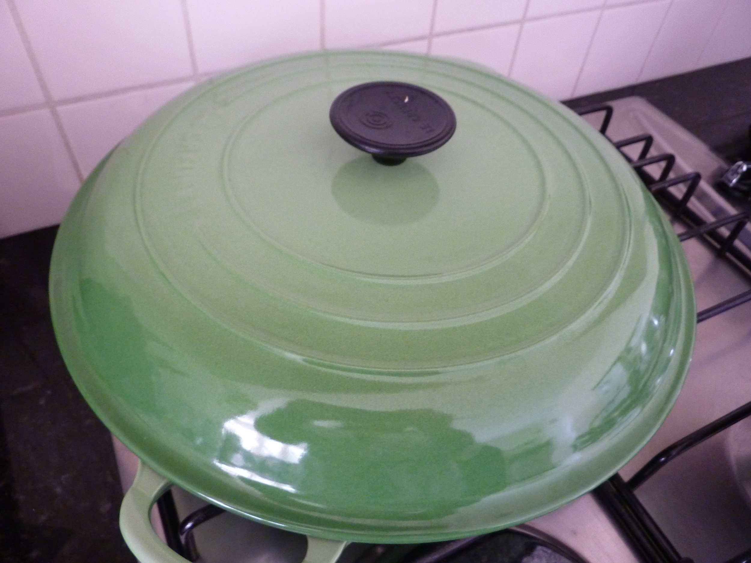 My hardy Le Crueset which gets a workout braising in winter.  My poor stove is far too small....