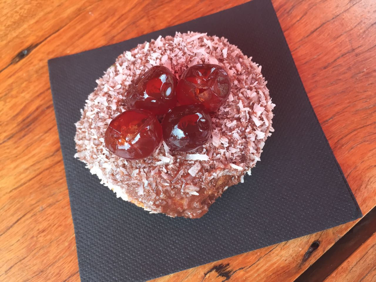 For Master C a Cherry Ripe Donut - happy days