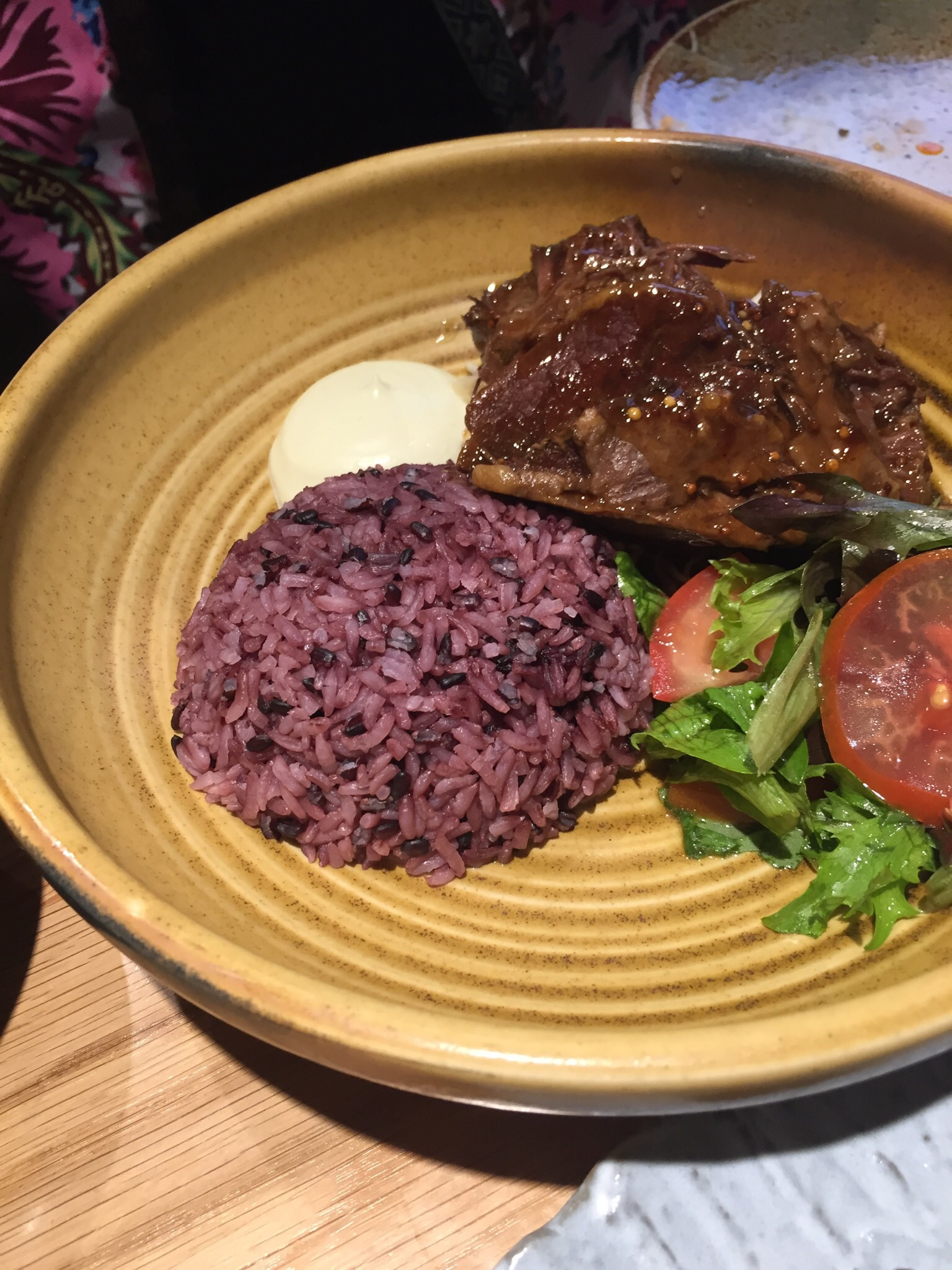 Lovely rich and tender beef, interesting rice and a salad to lighten the flavour.